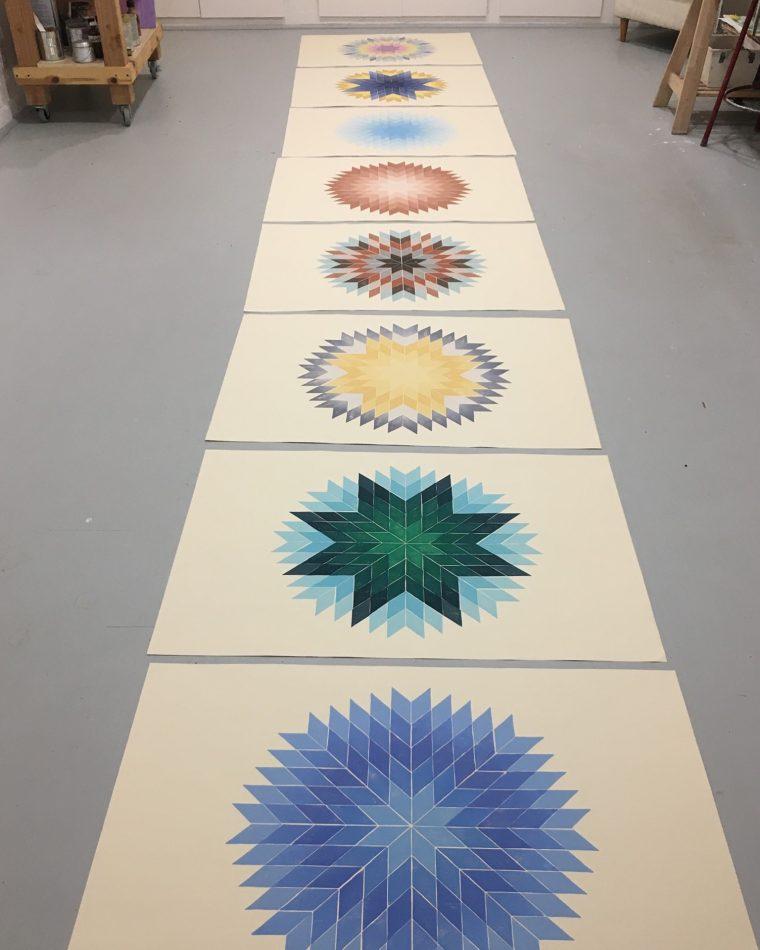 Solar System Octagram Block Prints