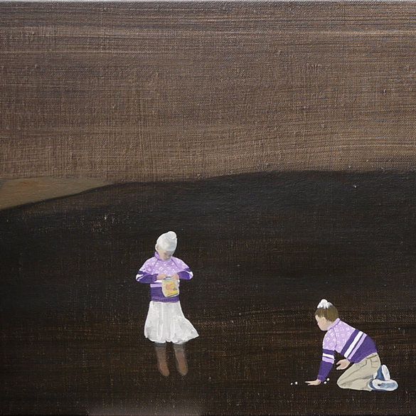 Shangri-La Girls School: Purple Sweaters, 2015, oil on linen, 16 x 144 inches, triptych